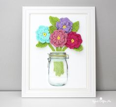 Crochet Flowers on Canvas - Repeat Crafter Me
