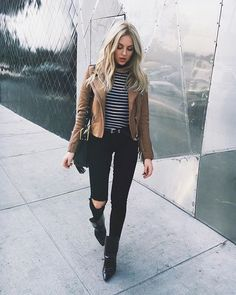 I like the top & purse, but I would rather wear boot-cut style jeans, different boots & I would rather wear a (faux) leather jacket instead