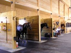 Wash areas/Tack. I hate when people get their horses ready in the isle.. | #horses #stables #barn