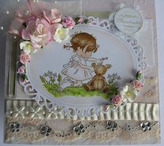 Handmade card,using lili of the valley stamp- Daisy chain. This card was hand crafted by Klare Chambers for Elegantlycrafted.blogspot