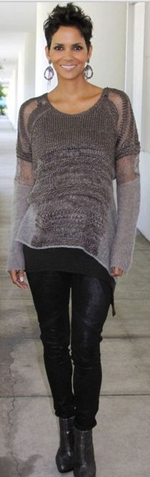 Who made Halle Berry's gray stripe sweater?