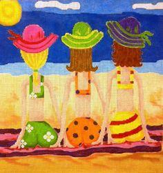Beach Babes Summer Series Handpainted Needlepoint Canvas by 4EVAU, $57.00