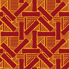 The graphic, tribal Sugar Cane in Red with gold #textile #print from the Global Grafix Collection by Karen Harris of -ize on design for Modern Yardage digital fabrics
