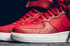 Python Makes An Appearance On This All-Red Nike Air Force 1 Mid • KicksOnFire.com
