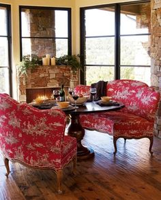 Red toile banquettes