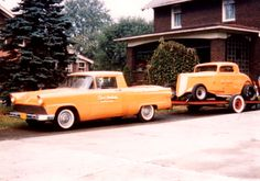Bud Graham's drag racing combo. A1956 Ranchero ( custom made from Panel  Wagon ) and a Chevrolet powered 1934 coupe.