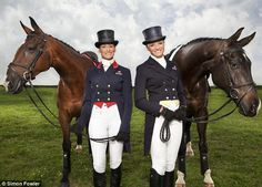Mary with Kings Temptress, her reserve horse for the Olympics, and daughter Emily with Mr Hiho