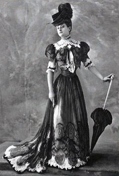 The hourglass shape, the reigning fashion for society women like Eleanor Roosevelt's mother Anna Hall, emphasizes the bust and the hips while enormous hats, voluminous skirts, tight fitting shoes, and the corset greatly restrict their movement.   PBS