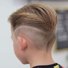 Slicked Back Hair with Mid Fade and Design miguel Boys Haircuts 2018, Boy Haircuts Short, Cool Boys Haircuts, Trendy Haircuts, Cute Boy Hairstyles, Hairstyles Men, Boys Fade Haircut, Kids Box Braids, Slicked Back Hair