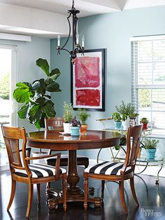 modernize your vintage pedestal table and chairs with bold black and white striped cushion covers
