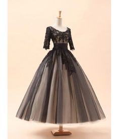 Ball Gown Lace&Tulle  Satin Bateau Neckline 1/2 Sleeves  Beading  Floor Length Wedding  Dress  For He is a Pirate HW2004