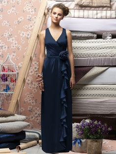 Long chiffon evening dress in midnight blue for bridesmaids & maid of honor from Lela Rose (Style: 146).
