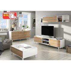 Mesa de centro en líneas nórdicas. Dispone de patas altas fabricadas en haya. Acabado en color blanco brillo y roble. Mueble moderno.