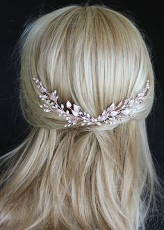 Bespoke for Holly_Rose gold crystal bridal hair vine 2 Gold Wedding Crowns, Headpiece Wedding, Bridal Headpieces, Wedding Veils, Hair Jewelry, Bridal Jewelry, Bridal Tips, Evening Hairstyles, Wedding Hair Pieces