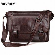 Men Genuine Leather Vintage Business Men's Travel Bags Tote Men Messenger Bags Briefcase 13 inch Laptop Bag For Men LI-1764 #Affiliate