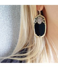 Deva Statement Earrings in Black Twilight - Kendra Scott Jewelry  Not thAt into black but these look great with leather!
