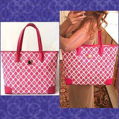"""🎉HOSTPICK🎉Authentic Dooney&Bourke Logo Pink Bag 💯% AUTHENTIC ✨ Beautiful large tote logo bag from Dooney&Bourke 🌹 Lightweight & very spacious. Length 15"""" Height is almost 13"""" Width 4 1/2"""" Strap drop 9-10"""" with 4 pockets inside. In very good condition. GORGEOUS 💖 NO TRADE 🙅🏼 Dooney & Bourke Bags Totes"""
