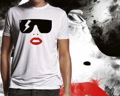 T-shirt estampada em malha Lady Gaga.