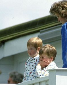 June 14, 1987: Prince Harry, Prince William and nanny Ruth Wallis watching their father  Prince Charles play polo at Smith's Lawn in Windsor Great Park, Berkshire …