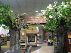 "Schaumburg Children's Library IL, USA.  Lovely enchanted forest entrance.  Dioramas of scenes from well-known children's books and a secret ""telephone"" that kids can pick up to hear stories."