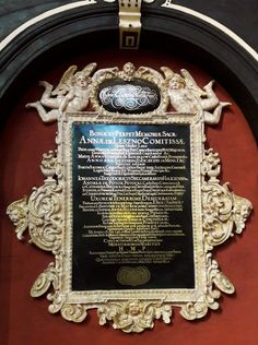 Epitaph of Anna Potocka née Leszczyńska (d. by Anonymous, ca. Church of the Assumption in Toruń. Calvinist Anna Potocka née Leszczyńska of Wieniawa coat of arms, daughter of Wacław and wife of Jan Teodor Potocki, died in Łowicz in Coat Of Arms, Anonymous, Marble, Anna, Daughter, Frame, Hay, Picture Frame, Family Crest