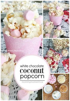 This white chocolate coconut popcorn is so easy to make and the combination closely reminds me of a RAFFAELLO, the white Ferrero Rocher. Mmm!