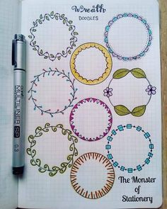 Pretty wreath doodles for your planner or bullet journal. Great for highlighting a new month or important information on a daily or weekly page. Bullet Journal Inspo, Bullet Journal Junkies, My Journal, Journal Ideas, Journal Layout, Circle Doodles, Note Doodles, Stationery, Creative