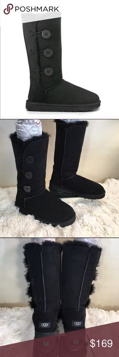 UGG Like New Black Bailey 3- Button Tall Boots UGG Black Bailey Boots in excellent condition.  Showroom sample!  Wonderful for winter!  UGG Shoes Winter & Rain Boots