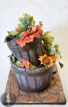 Rustic buckets and flowers cake by MadHouse Bakes