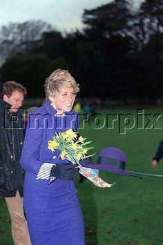 December 25, 1990: Princess Diana attending morning service at Sandringham Church.