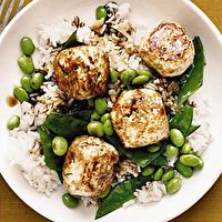 Chicken Teriyaki Meatballs with Snow Peas and Edamame by Laura Martin