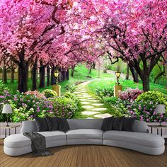 Custom Photo Wallpaper Flower Romantic Cherry Blossom Tree Small Road Wall Mural Wallpapers For Living Room Bedroom De Parede wallpapers for living room photo wallpaper mural wallpaper AliExpress 3d Wallpaper Design, 3d Wallpaper For Walls, Tree Wallpaper, Photo Wallpaper, Designer Wallpaper, Wallpaper Wallpapers, Office Wallpaper, Wallpaper For Living Room, Wallpaper Free