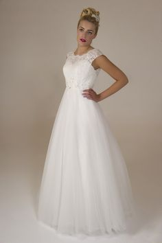 Jackie - Brides by Harvee lace illusion top bridal dress