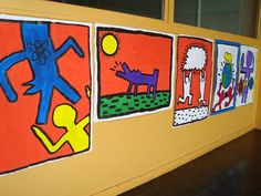 a faithful attempt: Grade 9 Keith Harring.  Kids select a social issue an portray it visually.