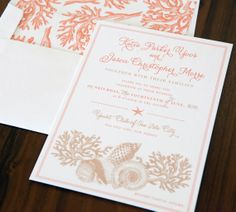 Shell We Wed #digital #wedding #invitation #etsy #coral #orange #tan #beach #nautical #shells #starfish #seaside #coastal #beachwedding #nauticalwedding #seasidewedding #weddinginvites #abbeymalcolmpress #abbeymalcolmletterpressanddesign www.abbeymalcolmpress.com  www.etsy.com/shop/abbeymalcolmpress
