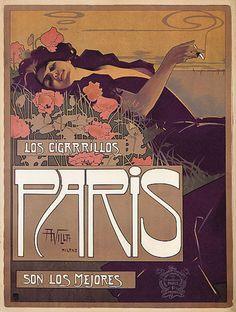 vintage posters   Paris Cigarettes - Vintage French