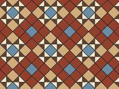 Original Style Braemar Victorian Tile Design - Red/Blue/Buff/Brown/White