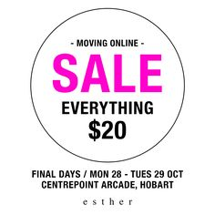 sale on now today & tomorrow only in our retail store in centrepoint! be quick, everything $20, also 10% off cocktail dresses at our online store - free worldwide delivery www.esther.com.au x