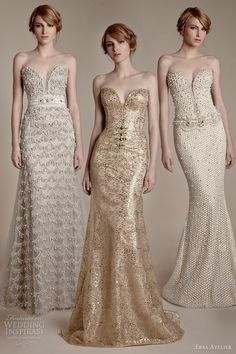 bling bling couture gown. ersa atelier 2013 bridal fashion strapless sheath wedding dresses