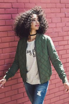 Kennedy Quilted Bomber Jacket- Olive