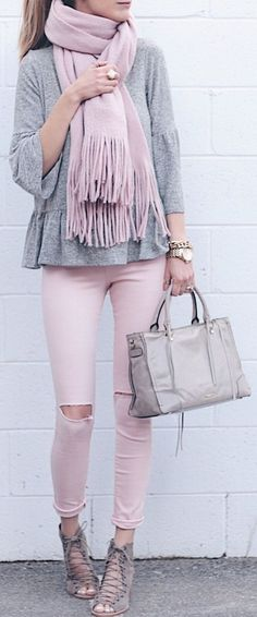 #spring #fashion /  Pink Fringe Scarf / Grey Top / Pink Destroyed Skinny Jeans / Grey Laced Up Booties