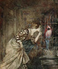Magical Macaws.   by Arthur Rackham