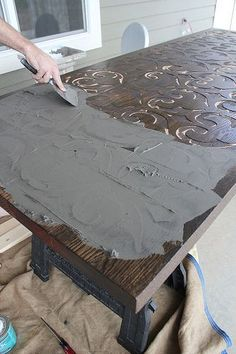 Custom wood and concrete table top by Kara Paslay Designs Furniture Projects, Furniture Makeover, Painted Furniture, Diy Furniture, Woodworking Plans, Woodworking Projects, Cnc Projects, Concrete Table Top, Concrete Slab