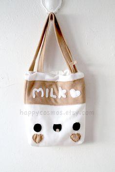 New Colors  Milk Tote Bag  Cute Schoolbag  Kawaii by HappyCosmos,