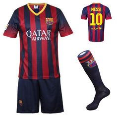 2013/2014 FC Barcelona Home Messi #10 Football Soccer Kids Jersey with FREE Shorts & Socks Set (Youth M (For 8-10 Years old)) FCB