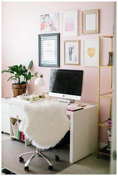 Cute office. Love the light pink walls