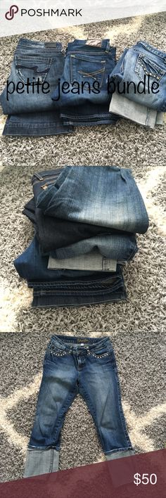 👖 Petite Jeans bundle sizes 2P and 3 juniors Four pair of jeans  Brands include: Younique, Refuge, New York and Company and Vertigo.   See my separate listings of each for more pictures and details. Jeans