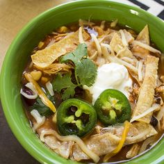 Skinny Slow Cooker Chicken Tortilla Soup is a low calorie version of this high calorie Mexican favorite.