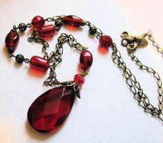 Vintage Lia Sophia Necklace, Red Glass Pendant