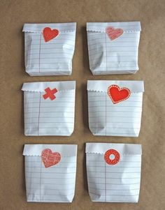 These Valentine treat bags are quick, simple and inexpensive to make from regular school notebook papers. : These Valentine treat bags are quick, simple and inexpensive to make from regular school notebook papers. My Funny Valentine, Valentine Treats, Valentine Day Love, Valentine Day Crafts, Holiday Crafts, Holiday Fun, Kids Valentines, Diy Valentine's Treat Bags, Diy Valentine's Treats